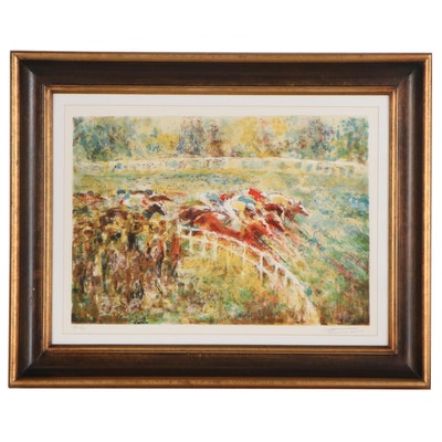 "Georges Trincot Equine Lithograph ""Around the Turn,"" Late 20th Century"