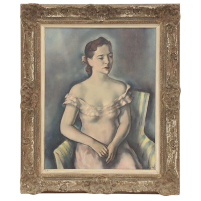 "Charles Cagle Oil Painting ""Lady in Pink,"" Early-Mid 20th Century"