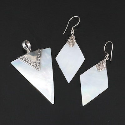 Sterling Silver Mother of Pearl Earrings and Pendant Set