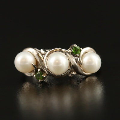 Sterling Pearl and Peridot Ring