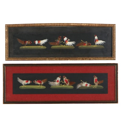 Mexican Style Feather Collage of Cockfighting Scene, circa 1950s