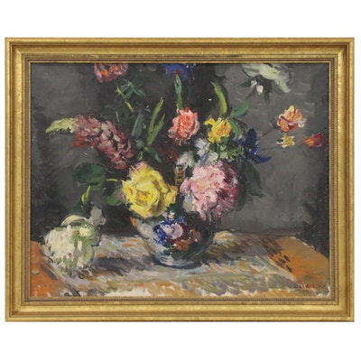 István Boldizsar Floral Still Life Oil Painting, 1962