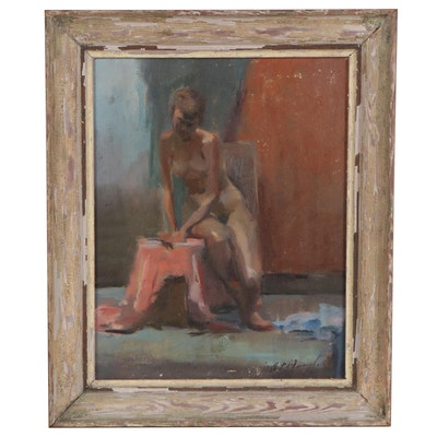 Oil Painting of Female Nude, Late 20th Century