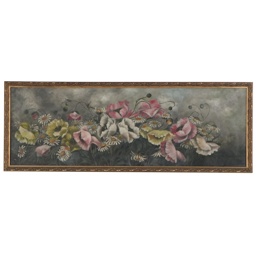 Rene Vose Floral Oil Painting, Mid-Late 20th Century
