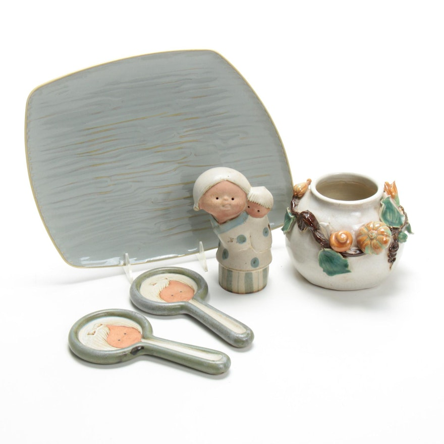 UCTCI Japanese Figurines with Earthenware Pot and Tray, Mid-20th Century