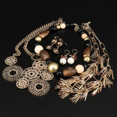 Jewelry Featuring Faux Pearl and Glass Accents