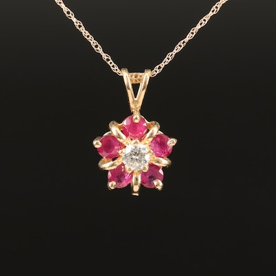 14K Diamond and Ruby Cluster Pendant Necklace