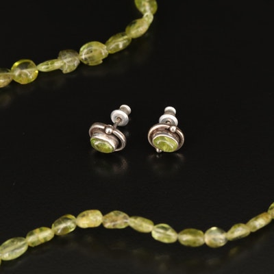 Sterling Silver Peridot Stud Earrings with Endless Peridot Bead Necklace