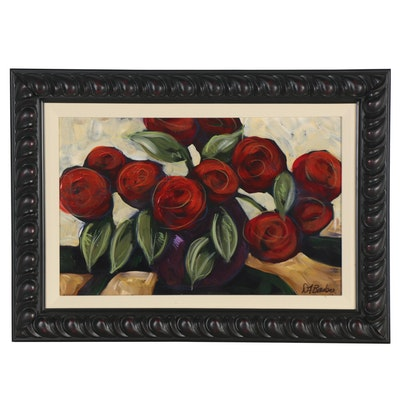Acrylic Painting of Roses, 20th Century