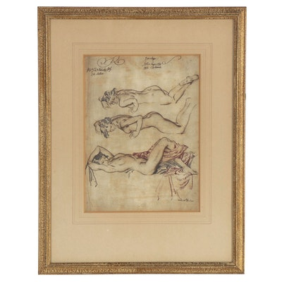 Rotogravure after William Russell Flint of Reclined Nude Figures, 20th Century