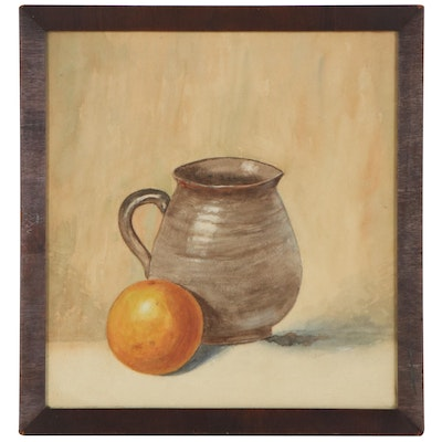"""William T. Hunleigh Watercolor Painting """"Orange and Pitcher Still Life"""""""