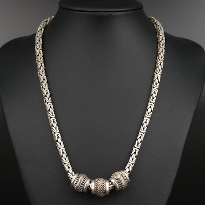 Sterling Byzantine Necklace with Slide Beads