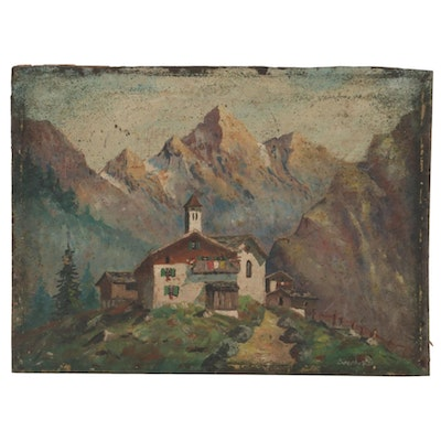 Mountinus Landscape Oil Painting with Refuge, Early 20th Century