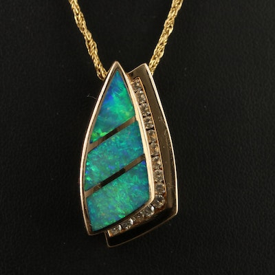 14K Opal Doublet and Diamond Pendant Necklace
