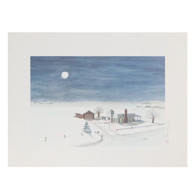 Winter Landscape Offset Lithograph, Late 20th Century