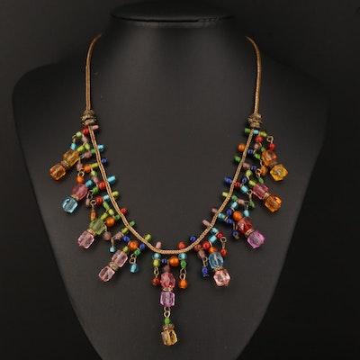 Multi-Colored Glass Fringe Necklace