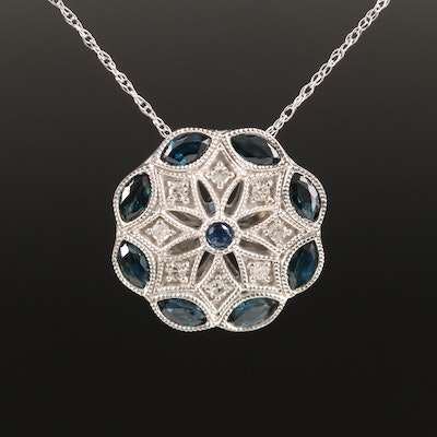 Vintage Style 14K Sapphire and Diamond Pendant Necklace