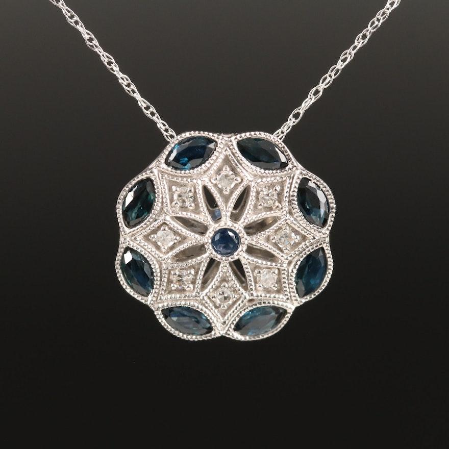 Vintage Style 14K Sapphire and Diamond Pendant Necklace
