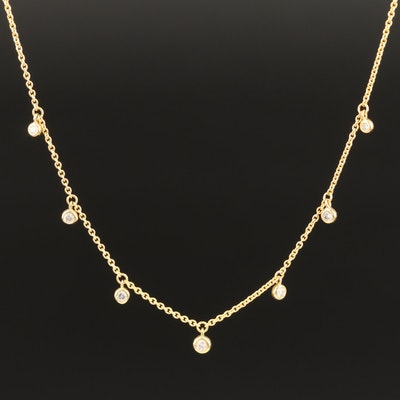 10K Necklace with Bezel Set Diamond Dangles