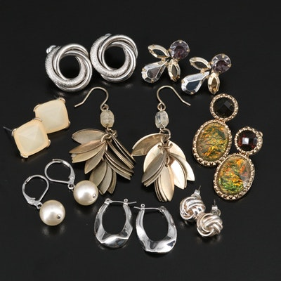 Earring Collection Including Faux Pearl and Glass
