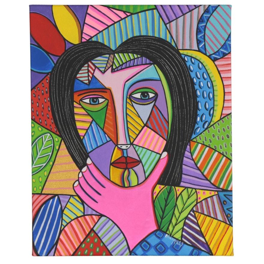 """Michel Blázquez Acrylic Painting """"Pensive Woman II,"""" 2020"""