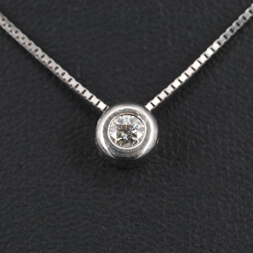 14K 0.22 CT Diamond Solitaire Pendant Necklace