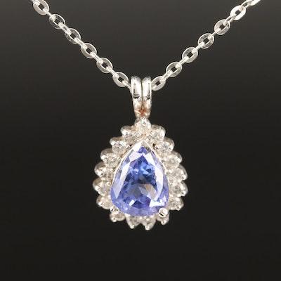 14K Tanzanite and Diamond Halo Pendant Necklace
