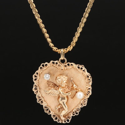 14K Diamond and Pearl Cupid Heart Pendant on 18K Chain