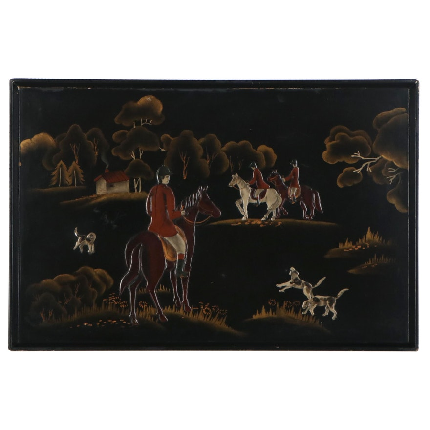 Relief Acrylic Painting of Fox Hunting, Early 20th Century