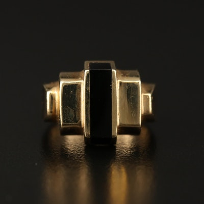 14K Black Onyx Geometric Ring