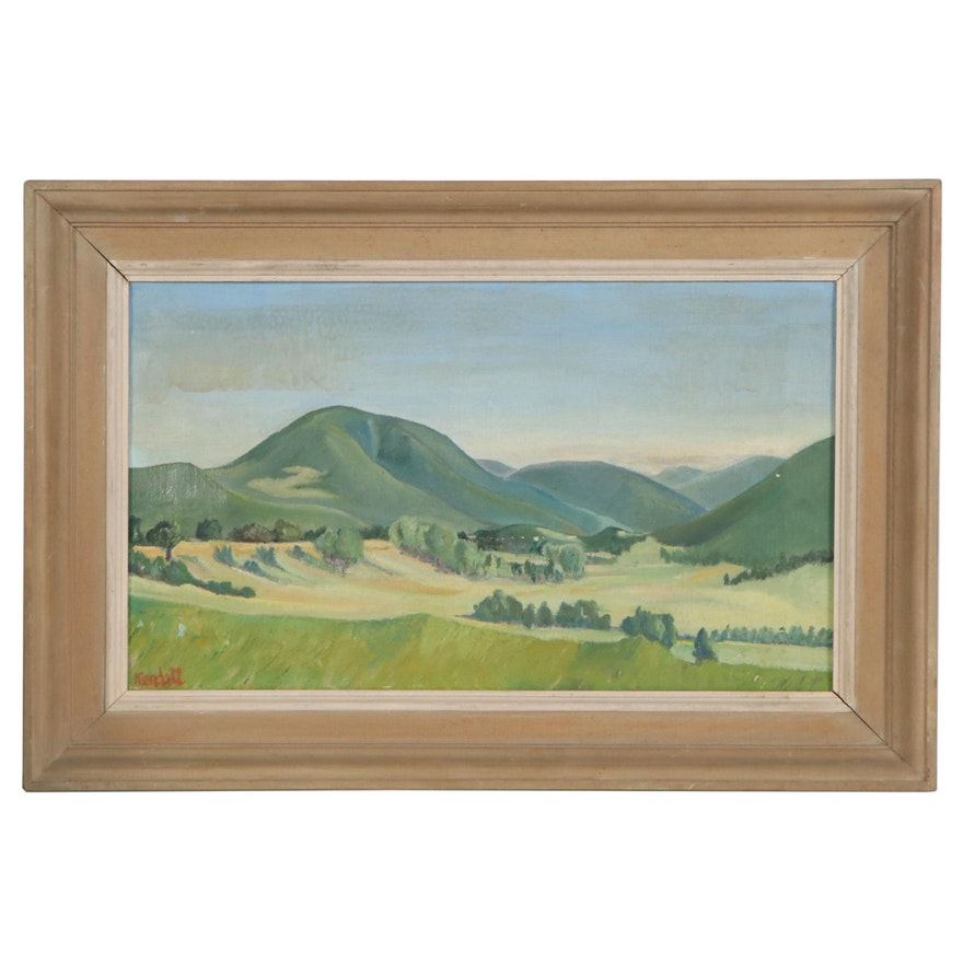 Kendall Oil Painting of Rolling Hills, Late 20th Century