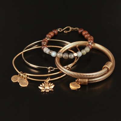 Alex and Ani Bracelets Including Labradorite, Wood and Bangle