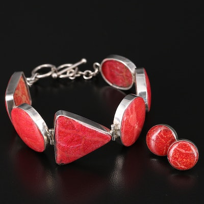 Sterling Silver Coral Bracelet and Earrings