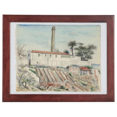 Edgar Yaeger Watercolor Painting, Mid-20th Century