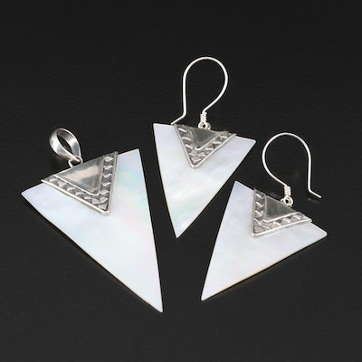 Sterling Silver Mother of Pearl Pendant and Earring Set