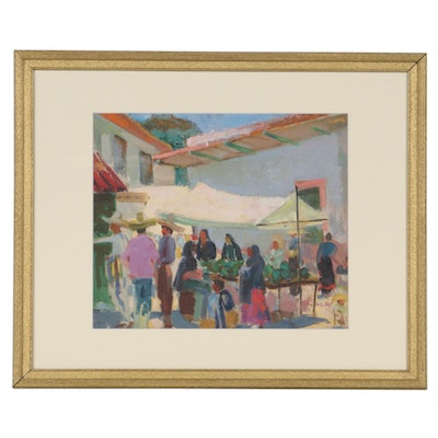 Donald Ruf Oil Painting of Central American Market Scene, 20th Century