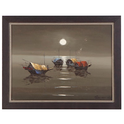 Sai Hoi Ho Acrylic Painting of Chinese Boats, Late 20th Century