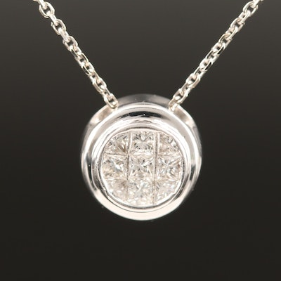 18K Diamond Pendant with 14K Chain