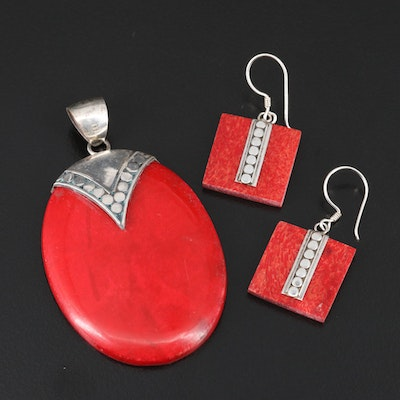 Sterling Silver Coral Complimentary Pendant and Earrings