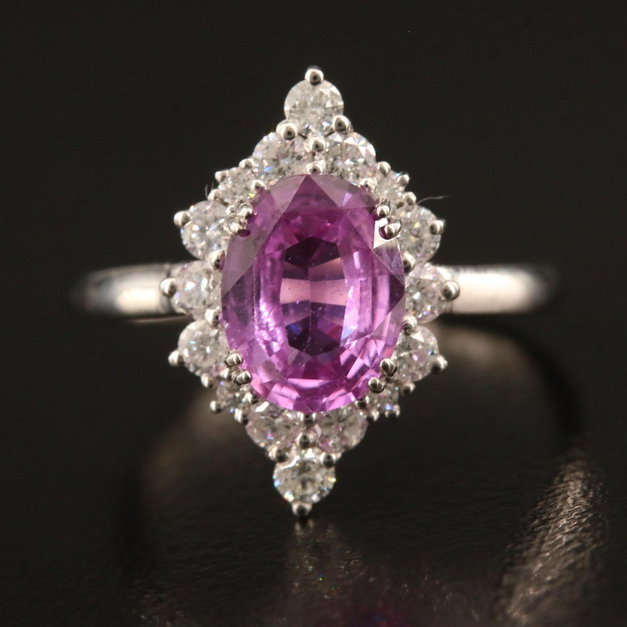 Platinum 1.77 CT Unheated Pink Sapphire and Diamond Ring with GIA Report