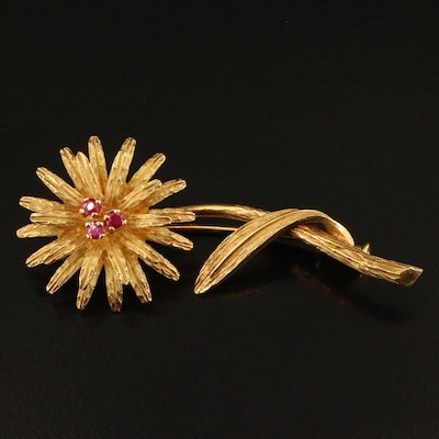 Vintage Tiffany & Co. 18K Ruby Floral Brooch