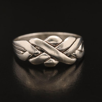 800 Silver Woven Motif Ring