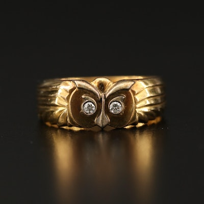18K Diamond Owl Motif Ring