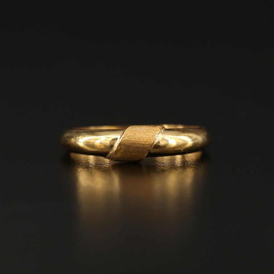 18K Gold Band with Textured Accent