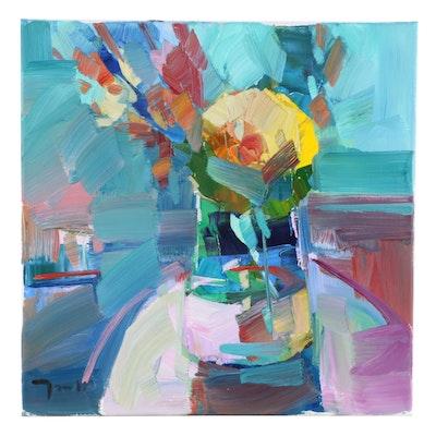 "Jose Trujillo Oil Painting ""Gerber Daisies"", 2020"