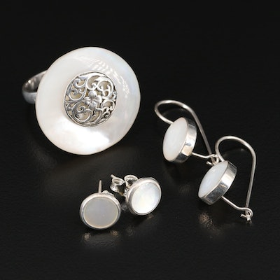 Sterling Silver Mother of Pearl Jewelry with Ring and Earrings