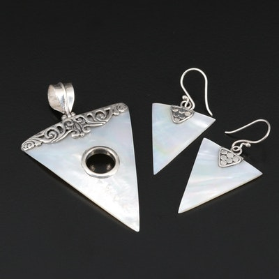 Sterling Silver Mother of Pearl Triangular Earrings and Pendant