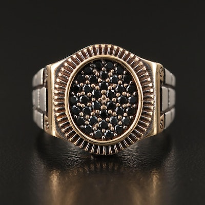 Sterling Spinel Brick Ring