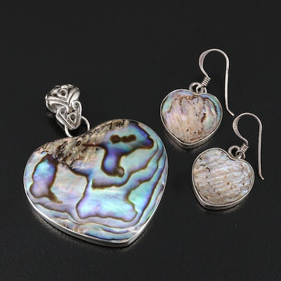 Sterling Silver Abalone Shell Heart Pendant and Earrings