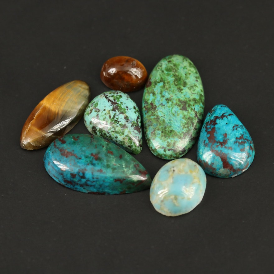 Loose Mixed Gemstones with Tiger Eyes, Eilat Stone and Composite Stone